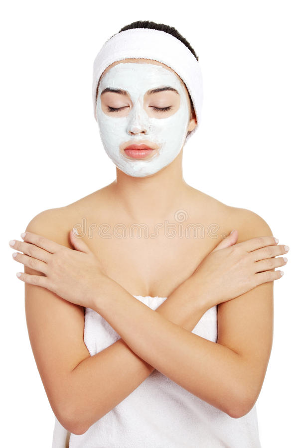 Beautiful Woman With Clay Facial Mask Stock Images