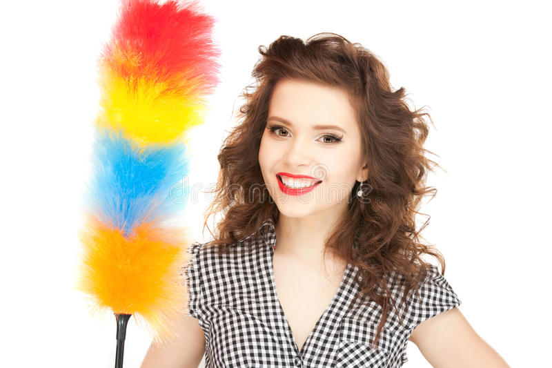 Download Beautiful Woman With Cleaning Sweep Stock Image - Image: 22067237
