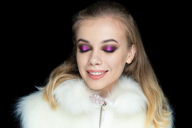 Pink eyeshadows smoky eyes royalty free stock images