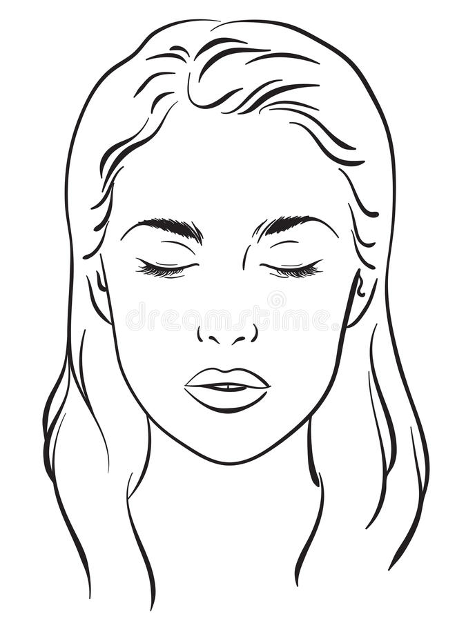 Beautiful woman with closed eyes. Face chart Makeup Artist Blank Template Vector. stock illustration