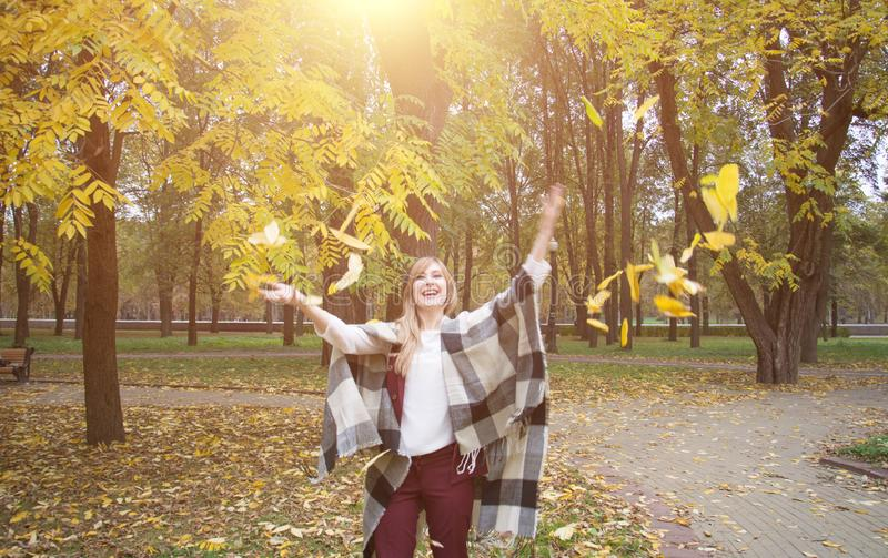 Beautiful woman in a coat park autumn leaves fly stock photos