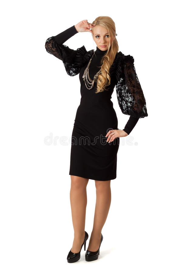 Beautiful woman in cocktail dress. royalty free stock image