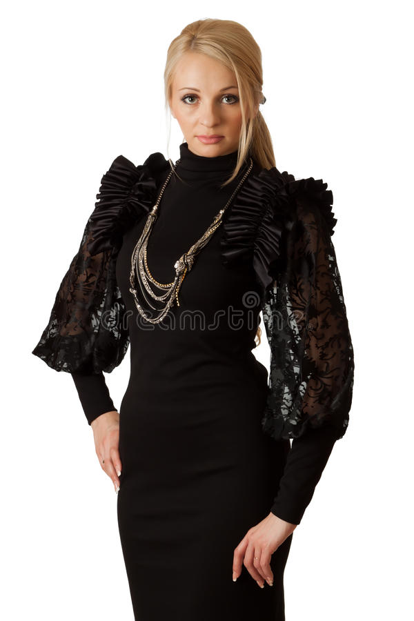 Beautiful woman in cocktail dress. stock photo