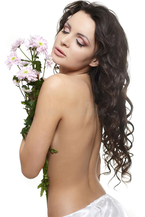 Download Beautiful Woman With Colorful Flowers Stock Image - Image: 22898311