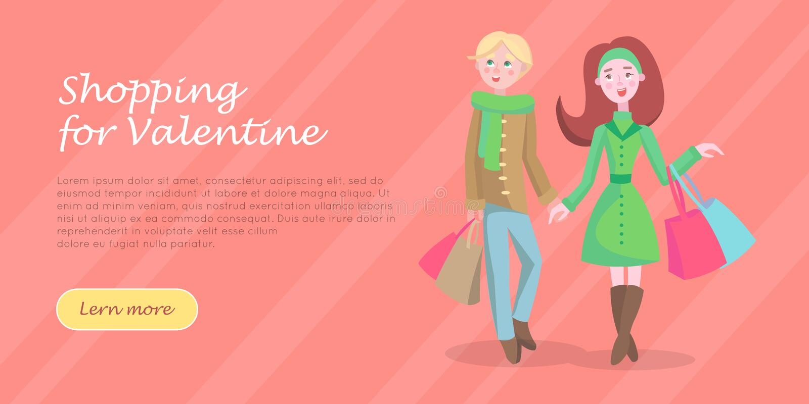 Beautiful Woman Shopping Cartoon Flat Vector Icon. Beautiful woman with colorful paper bags and man vector illustration. Holiday Valentine shopping flat concept stock illustration