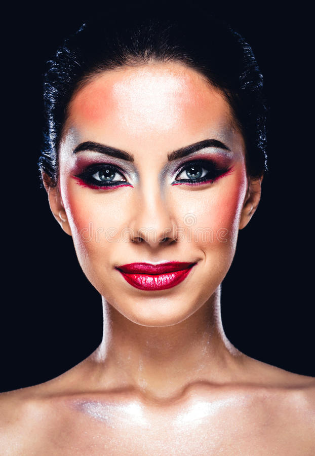 Beautiful woman with colourful makeup royalty free stock photos