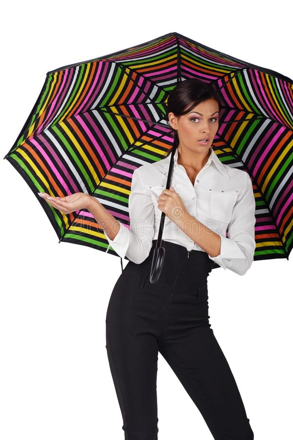Beautiful woman with colourful umbrella on white b royalty free stock images