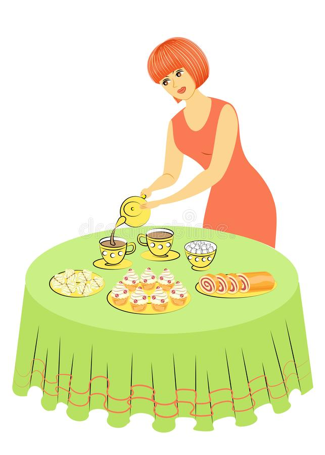 Beautiful woman is cooking. The lady pours tea into cups. The girl sets the table. Vector illustration vector illustration