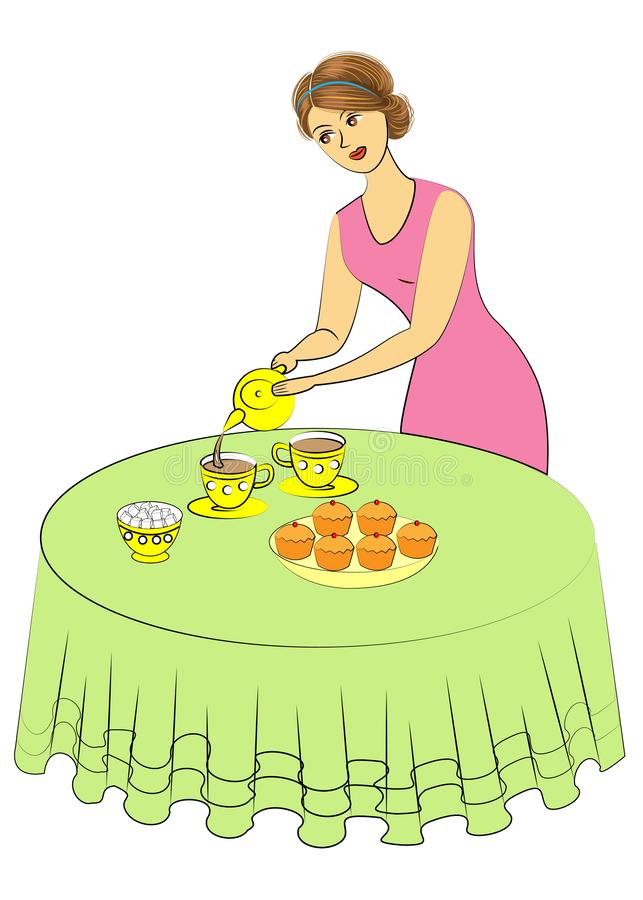 Beautiful woman is cooking. The lady pours tea into cups. The girl sets the table. Vector illustration stock illustration