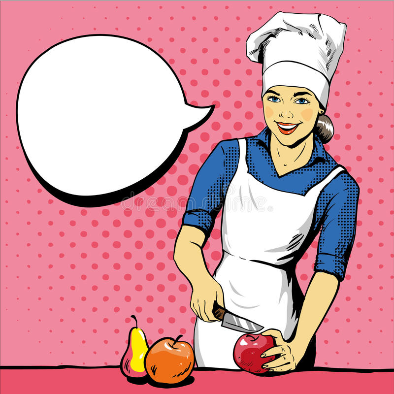 Download Beautiful Woman Cooking Vector Illustration In Retro Pop Art Style Female Chef