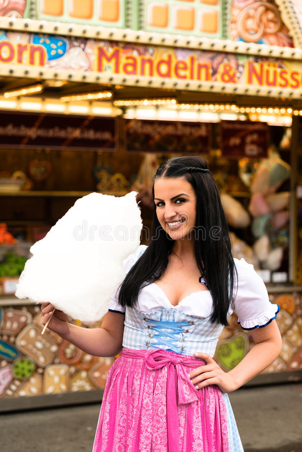 Beautiful woman with cotton candy stock image