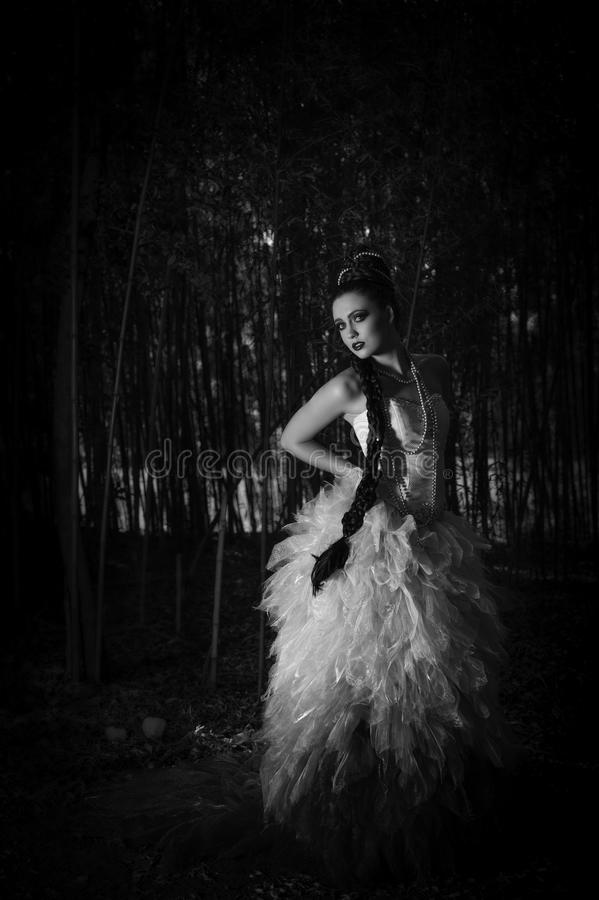 Beautiful woman in couture dress standing in a forest. Monochrome image of a beautiful young Caucasian woman wearing her long dark hair in an elaborate braided royalty free stock photography