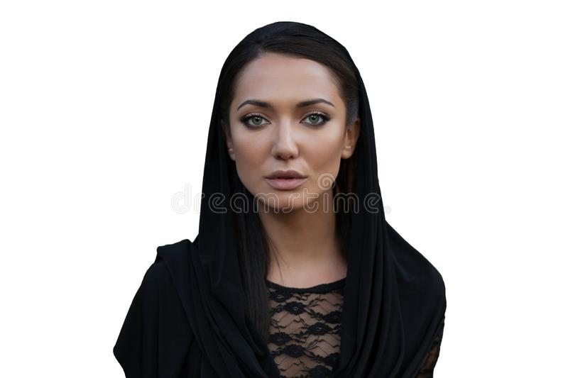 Beautiful woman covers her head with hi jab.fashionable arabian style girl.beauty portrait stock images