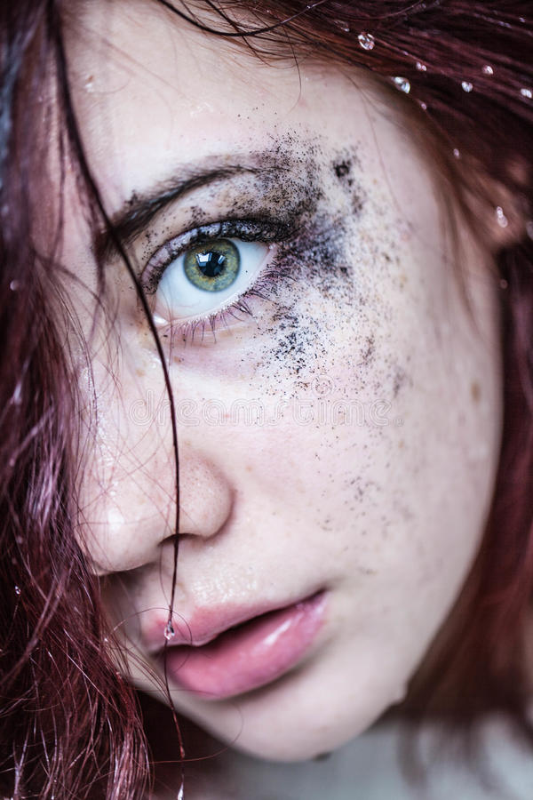 Beautiful woman cries stock images
