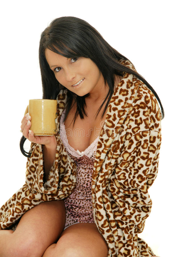 Beautiful Woman With Cup Of Coffee Stock Image