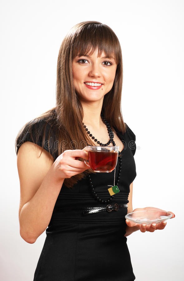 Beautiful Woman With Cup Of Tea Stock Photo