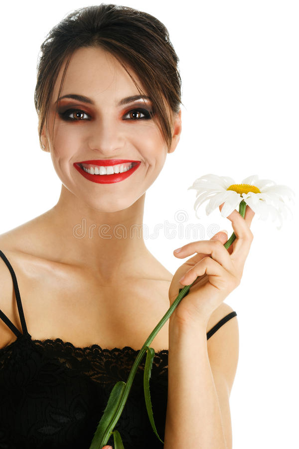 Beautiful woman with daisy flower stock images