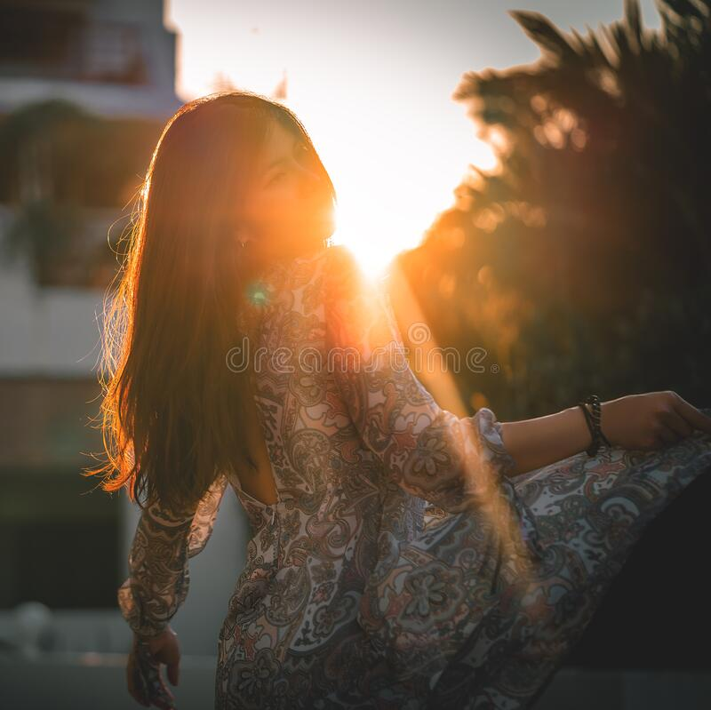 Woman Enjoying At Beach Stock Image Image Of Pleasure: Beautiful Woman Dancing At Sunset Stock Photo