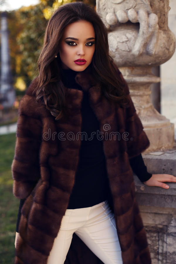 Beautiful woman with dark hair in luxurious fur coat stock image