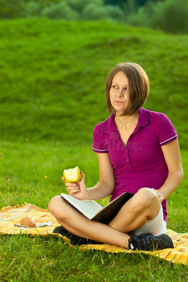 Download Beautiful Woman Daydreaming And Making Plans Stock Image - Image: 21067595