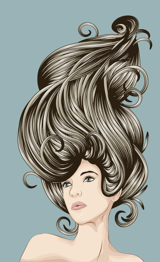 Beautiful woman with detailed hair stock illustration
