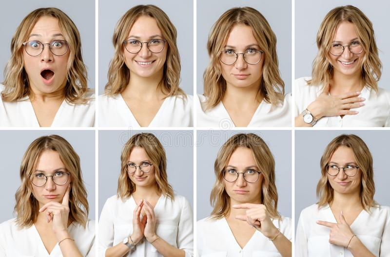 Beautiful woman with different facial expressions and gestures royalty free stock photos