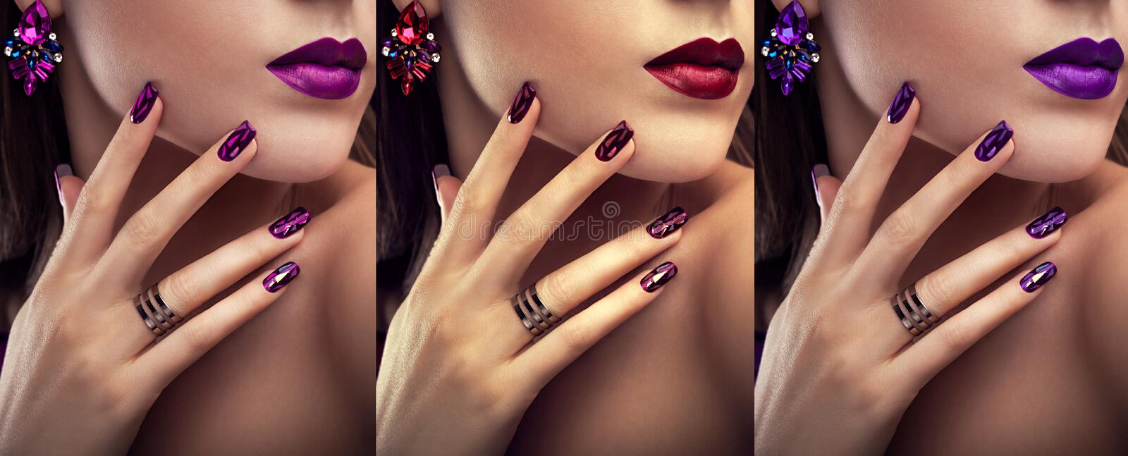 Beautiful woman with different make-up and manicure wearing jewellery. Three variants of stylish looks royalty free stock image