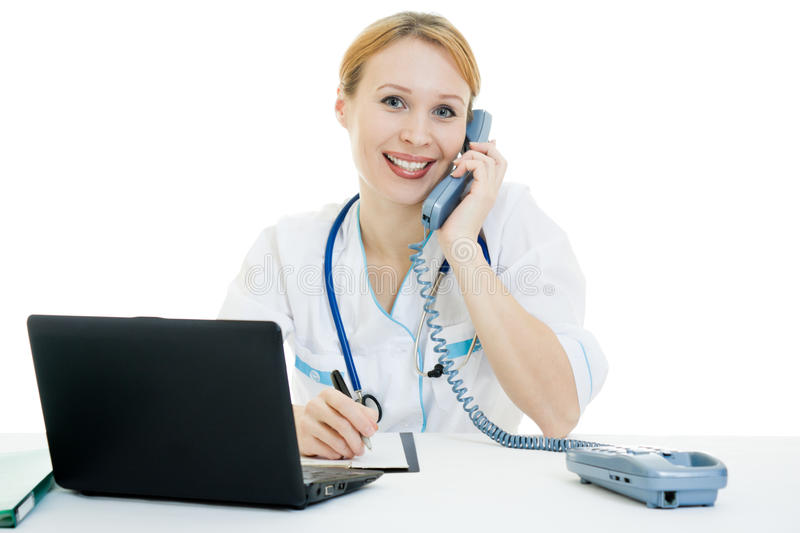 Beautiful woman doctor consultant with telephone