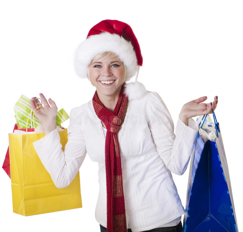 Beautiful Woman Doing her Christmas Shopping stock images