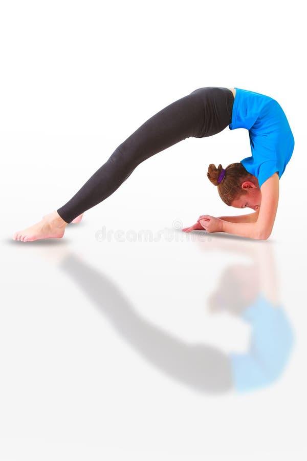 Download Beautiful Woman Doing Yoguna White Background Stock Image - Image: 83707525