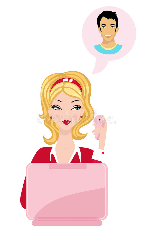 Download Beautiful Woman Dreaming Of Her Boyfriend Stock Vector - Illustration of thinking, character: 25744110