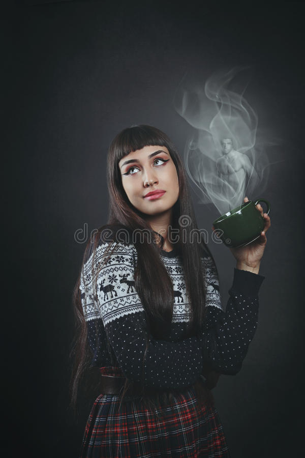 Beautiful woman dreaming the perfect man stock photos