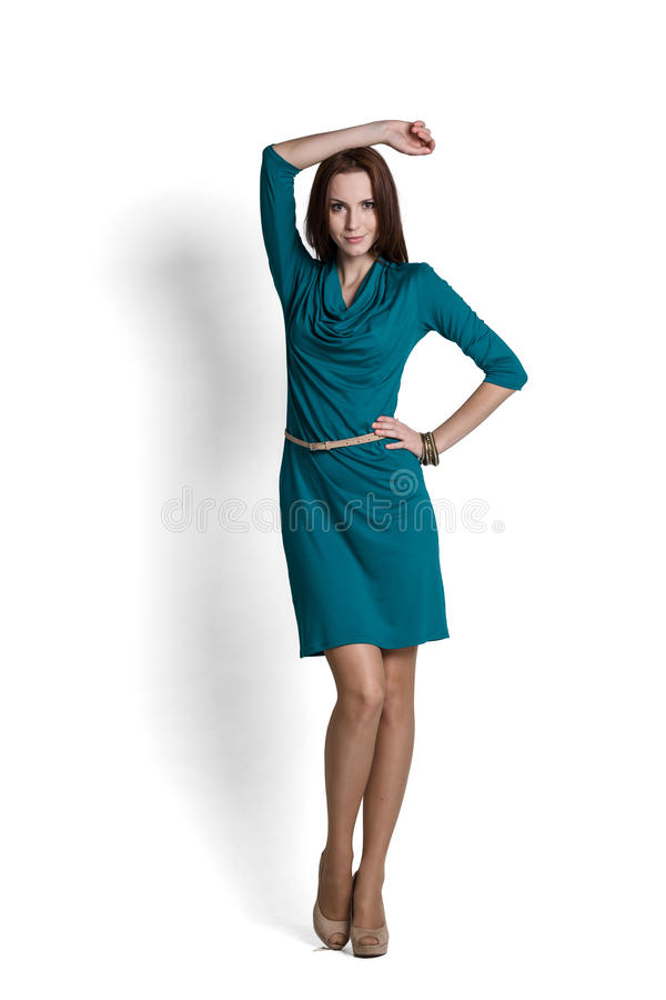 Beautiful woman in dress stock image