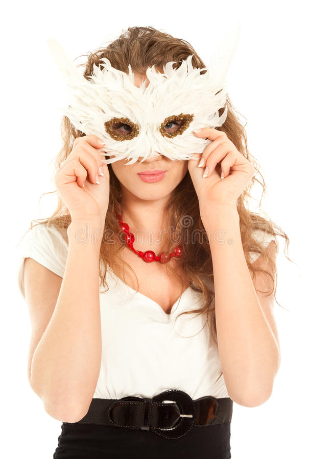 Download Beautiful Woman In Dress Holding A Mask Isolated Royalty Free Stock Photos - Image: 19534368