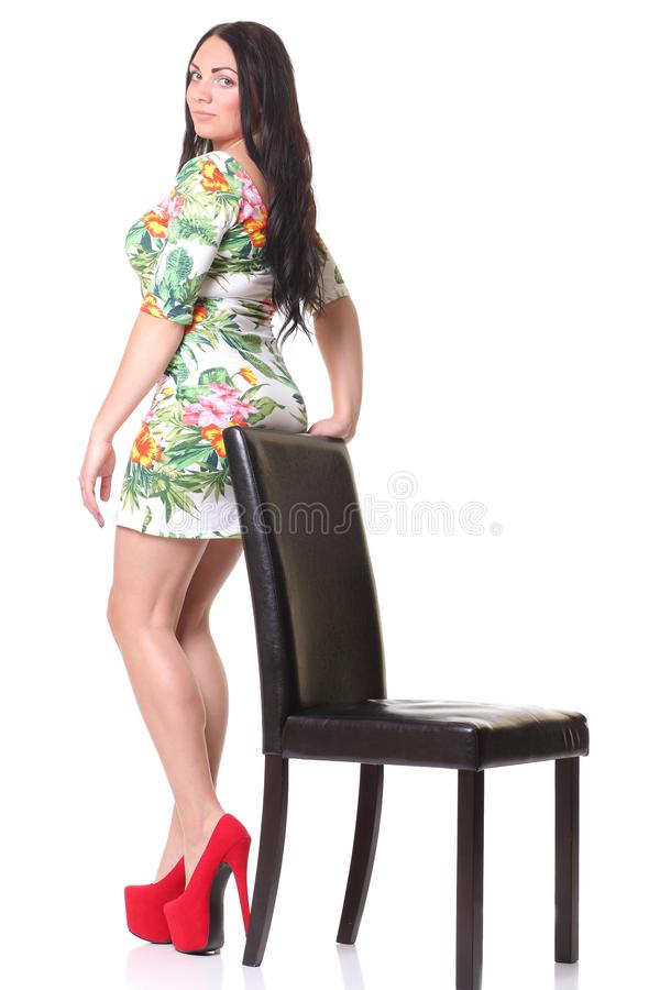 Beautiful woman in dress stock photography
