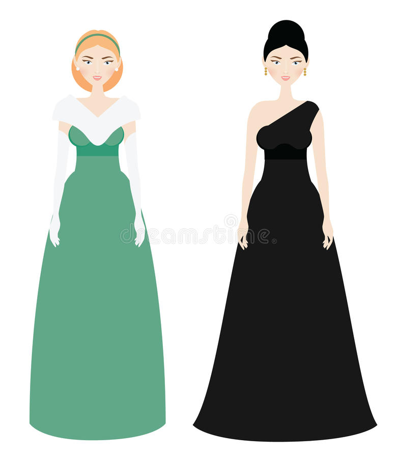Beautiful Woman dresscode. Smiling Female in luxury evening long gown dresses vector illustration