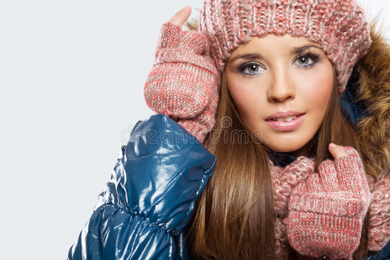 Beautiful woman dressed for winter stock photos