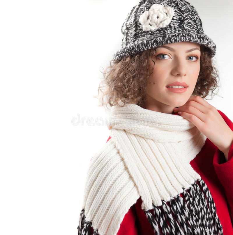 Beautiful woman dressed in winter clothes smiling stock images
