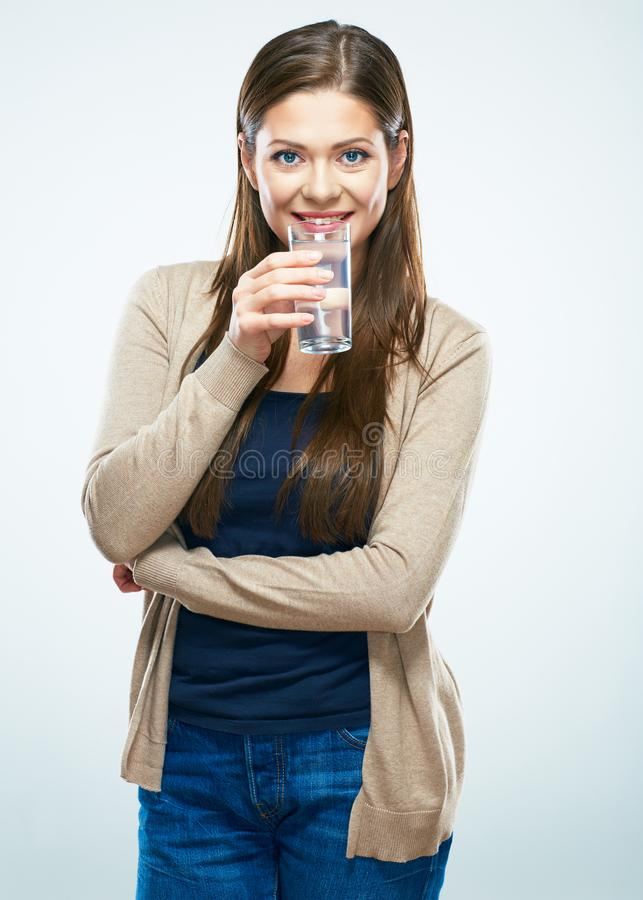 Beautiful woman drink water. Isolated portrait stock photos