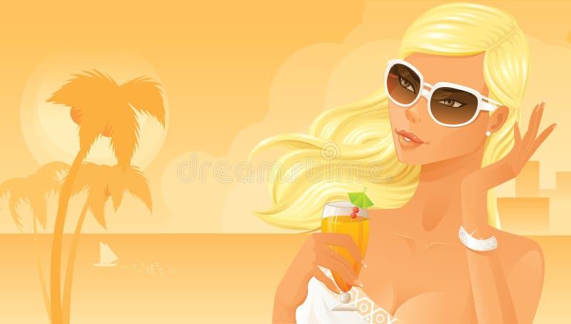 Beautiful woman drinking cocktail stock illustration