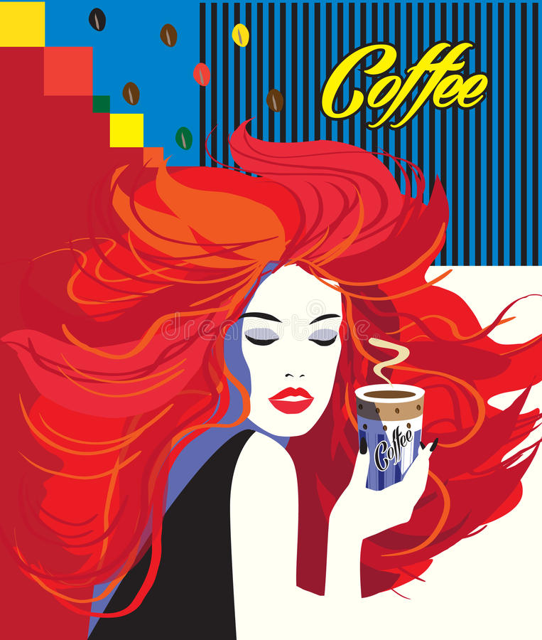 Beautiful Fashion Woman drinking coffee cup POP ART Trendy POSTER. Beautiful Fashion Woman drinking coffee cup Pop Art modern background, logo, menu, concept royalty free illustration