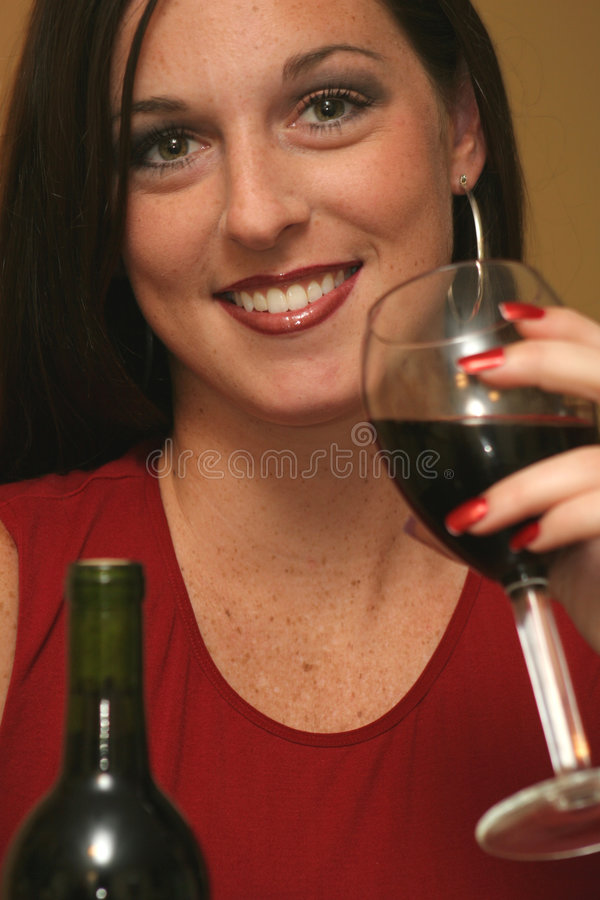 Download Beautiful Woman Drinking Red Wine Stock Image - Image: 1360989