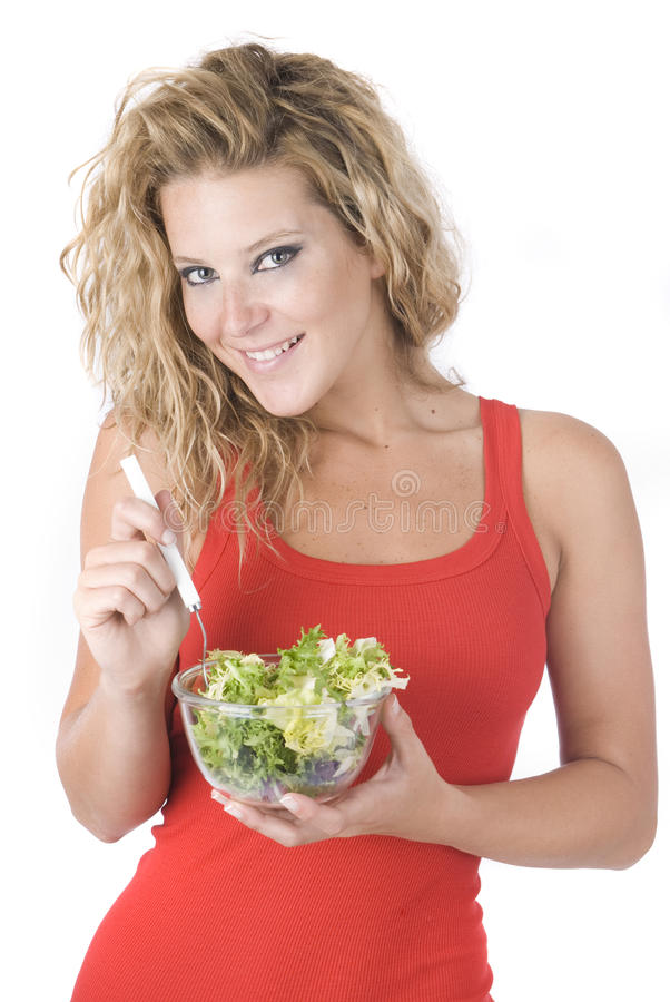 Download Beautiful Woman Eating A Sane Salad With Vegetable Stock Photo - Image: 9467552