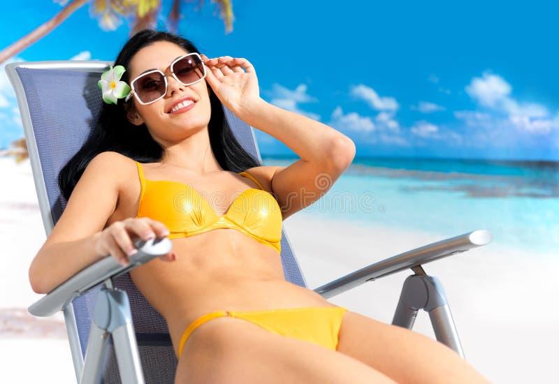 Beautiful woman enjoying at beach