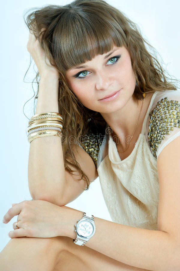 Beautiful Woman With Evening Make-up. Jewelry And Beauty Royalty Free Stock Photo