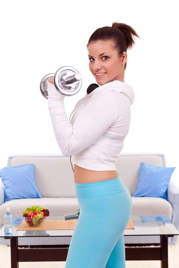 Beautiful woman exercise royalty free stock photo