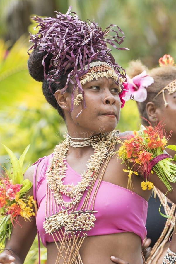 Dancing exotic woman, Solomon Islands stock images