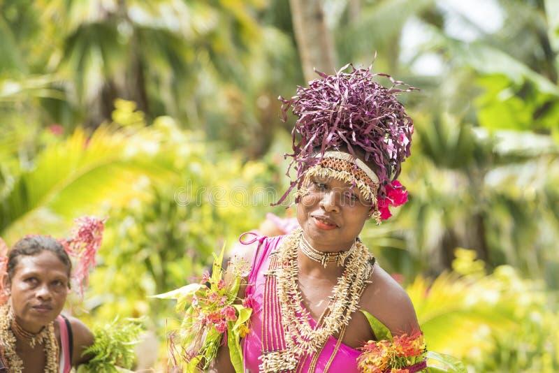 Exotic woman dancing traditional dances, Solomon Islands royalty free stock image