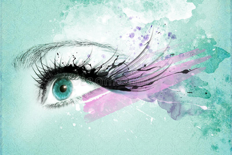 Beautiful woman eye, Artwork with ink in grunge style. Background royalty free stock photos