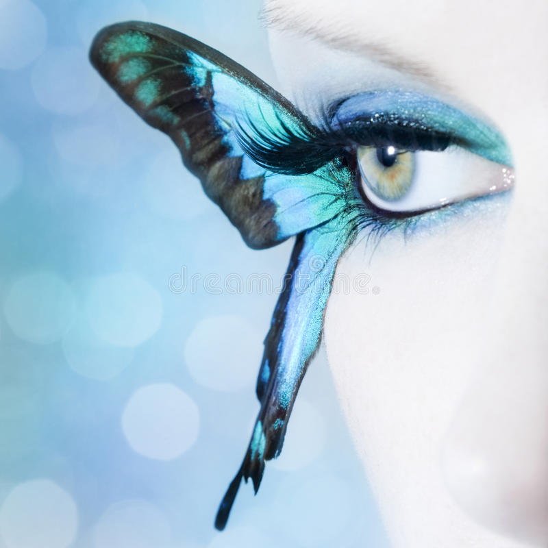 Download Beautiful Woman Eye Close Up With Butterfly Wings Stock Photo - Image of eyelashes, glamor: 39500132